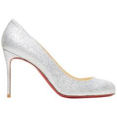 new CHRISTIAN LOUBOUTIN Fifi 85 silver glitter round toe slim heel pump EU37