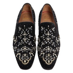 new CHRISTIAN LOUBOUTIN Gwaliorissimo Flat black strass embroidered loafer EU41