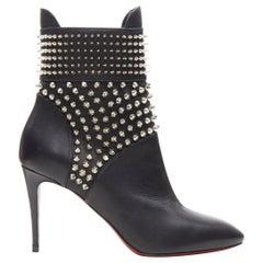 new CHRISTIAN LOUBOUTIN Hongroise 85 black leather spike studded ankle boot EU36