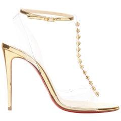 new CHRISTIAN LOUBOUTIN Jamais Assez 100 gold studded T-strap PVC heels EU38