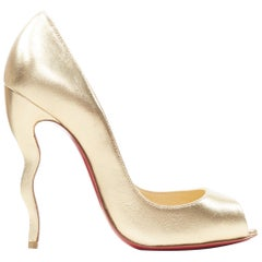 new CHRISTIAN LOUBOUTIN Jolly B metallic gold peep toe squiggly wavy heel EU37