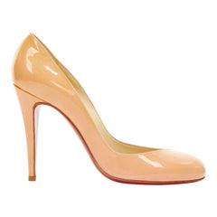 new CHRISTIAN LOUBOUTIN light orange patent round toe slim heel pumps EU39