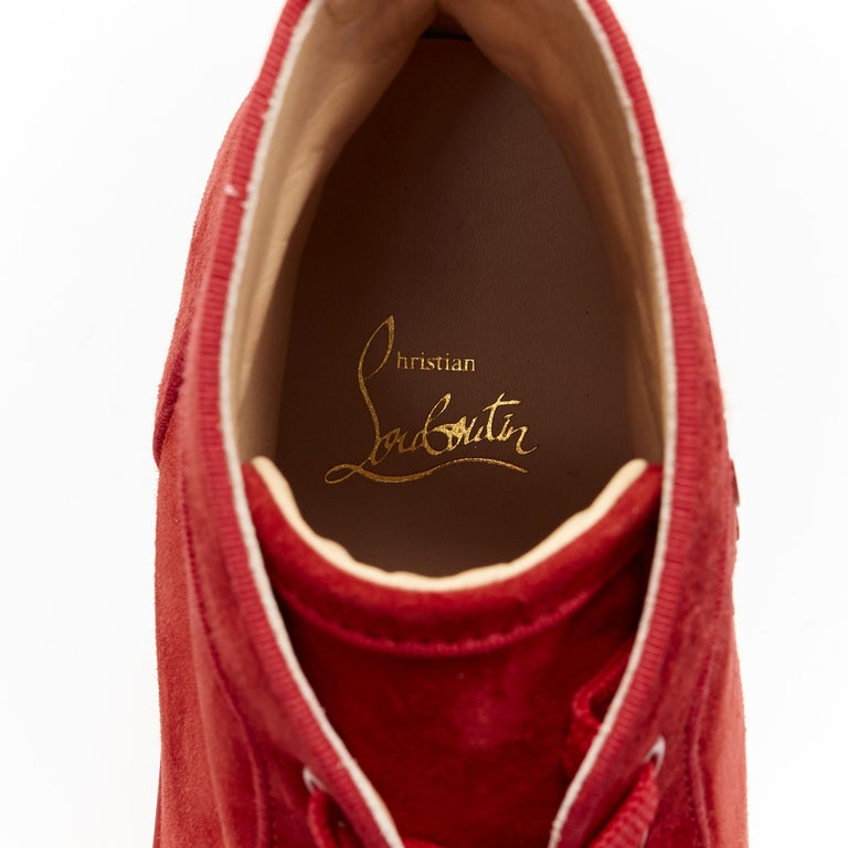 new CHRISTIAN LOUBOUTIN Lou New Degra Rougissime red strass toe sneakers EU45 For Sale 7