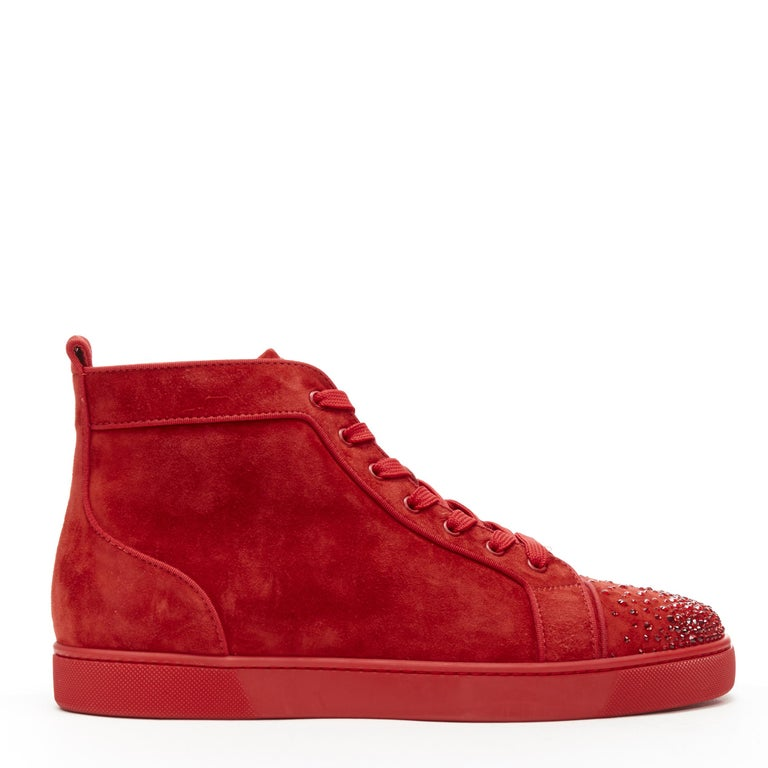 new CHRISTIAN LOUBOUTIN Lou New Degra Rougissime red strass toe sneakers EU45 Brand: Christian Louboutin Designer: Christian Louboutin Model Name / Style: Lou New Degra Material: Suede Color: Red Pattern: Solid Closure: Lace up Extra Detail: Style