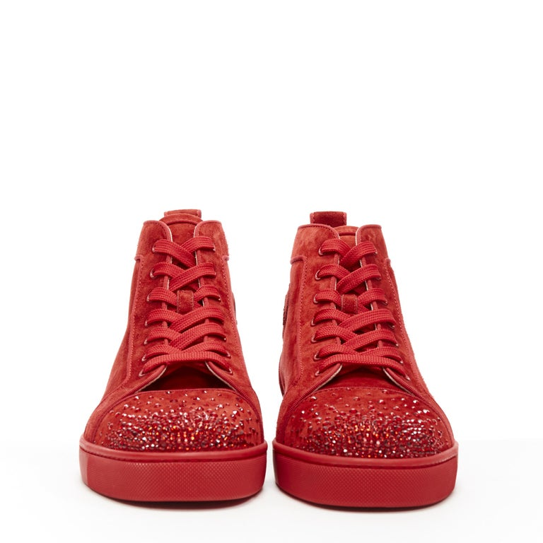 new CHRISTIAN LOUBOUTIN Lou New Degra Rougissime red strass toe sneakers EU45 In New Condition For Sale In Hong Kong, NT