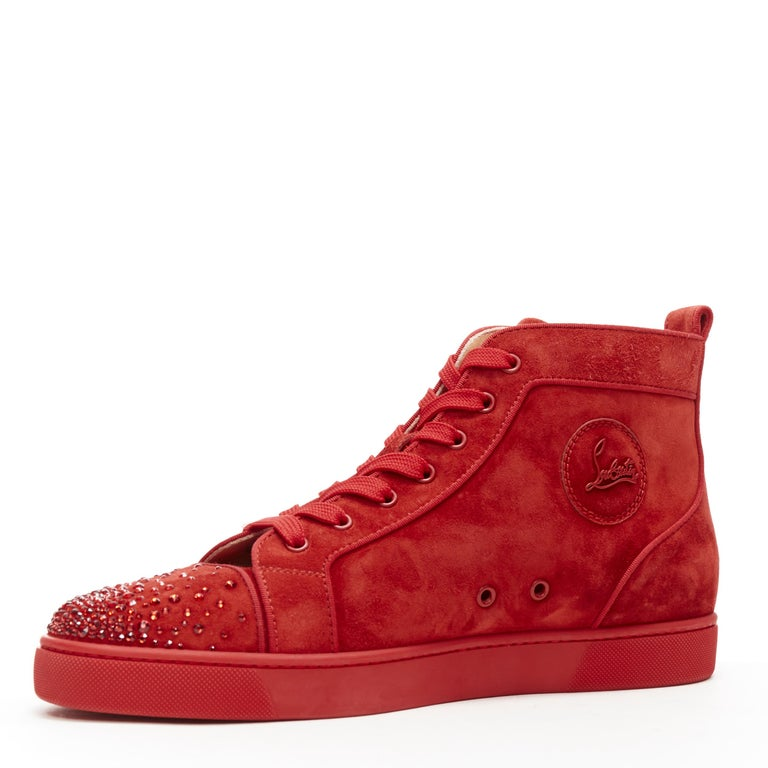 Men's new CHRISTIAN LOUBOUTIN Lou New Degra Rougissime red strass toe sneakers EU45 For Sale