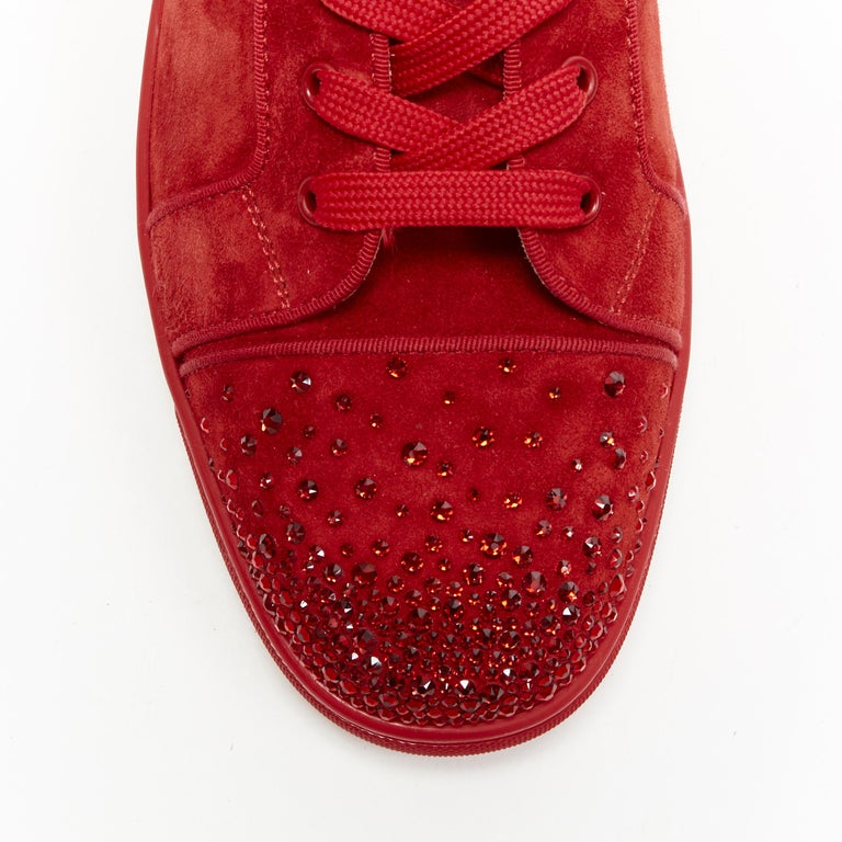 new CHRISTIAN LOUBOUTIN Lou New Degra Rougissime red strass toe sneakers EU45 For Sale 3