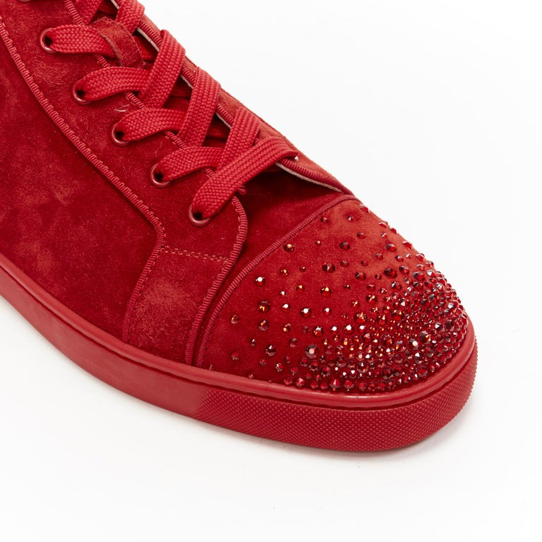 new CHRISTIAN LOUBOUTIN Lou New Degra Rougissime red strass toe sneakers EU45 For Sale 4