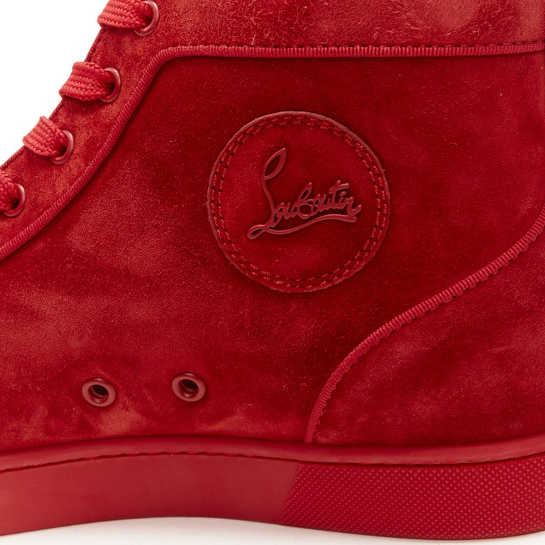 new CHRISTIAN LOUBOUTIN Lou New Degra Rougissime red strass toe sneakers EU45 For Sale 5