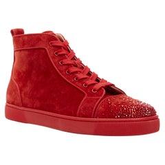 new CHRISTIAN LOUBOUTIN Lou New Degra Rougissime red strass toe sneakers EU45