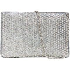 new CHRISTIAN LOUBOUTIN Loubiclutch iridescent silver spike stud zip clutch bag