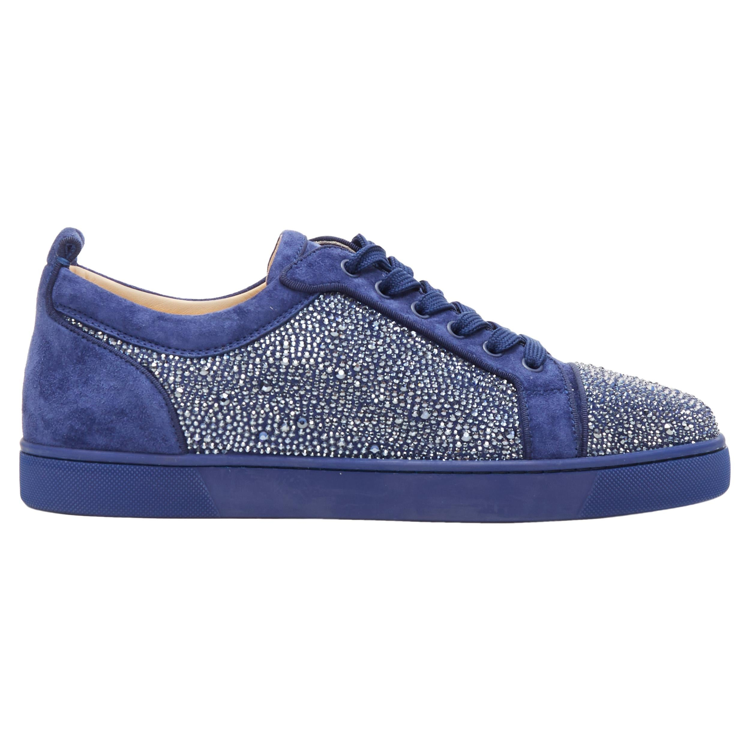 new CHRISTIAN LOUBOUTIN Louis Junior blue strass crystal low top sneaker EU43