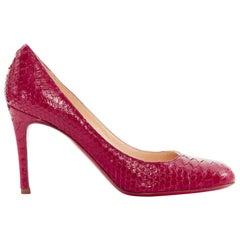 new CHRISTIAN LOUBOUTIN Lucida Fifi 85 red glossy python round toe pumps EU36.5