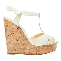 new CHRISTIAN LOUBOUTIN Marina Liege white patent lacquered cork wedge EU38
