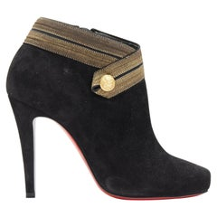 new CHRISTIAN LOUBOUTIN Marychal 100 black suede gold military trim bootie EU38