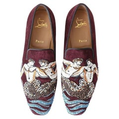 new CHRISTIAN LOUBOUTIN Merman embroider red suede slip on loafers flats EU39.5
