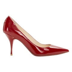 new CHRISTIAN LOUBOUTIN New Piaf 85 Cerise red patent leather pointy pump EU35.5
