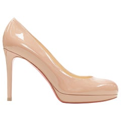 new CHRISTIAN LOUBOUTIN New Simple nude patent round toe platform pump EU36