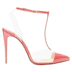 new CHRISTIAN LOUBOUTIN Nosy 100 begonia pink patent PVC T-strap pointy pumps 38