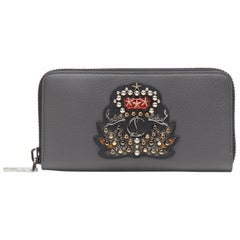 new CHRISTIAN LOUBOUTIN Panettone Empire studded grey leather continental wallet