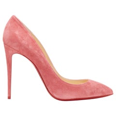 new CHRISTIAN LOUBOUTIN Pigalle Follies 100 Begonia pink suede pointy pump EU40