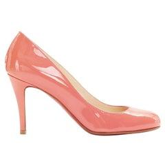 new CHRISTIAN LOUBOUTIN Ron Ron 85 pink patent round toe high heel pump EU35.5