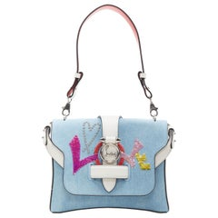 new CHRISTIAN LOUBOUTIN Rubylou Small Love blue denim dual chain crossbody bag