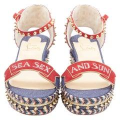 new CHRISTIAN LOUBOUTIN S Padrilla 60 crystal gold stud espadrille sandal EU39