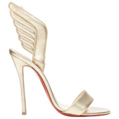 new CHRISTIAN LOUBOUTIN Samotresse 100 gold nappa laminata wings sandals EU38
