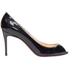 new CHRISTIAN LOUBOUTIN Sexy 85 black patent peep toe slim mid heel pump EU38