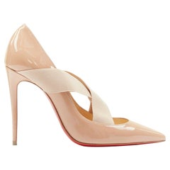 new CHRISTIAN LOUBOUTIN Sharpstagram 100 nude cross strap pointy pigalle EU36