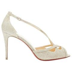 new CHRISTIAN LOUBOUTIN silver glitter cross strappy peep heel sandals EU37.5