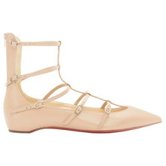 new CHRISTIAN LOUBOUTIN Toerless Muse nude point toe gladiator caged flats EU35