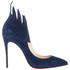 new CHRISTIAN LOUBOUTIN Victorina 100 dark blue suede flame cut pump heel EU37.5