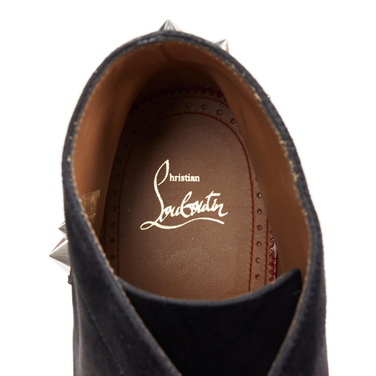 new CHRISTIAN LOUBOUTIN Yannick Flat black suede spike stud creeper boots EU44 For Sale 5