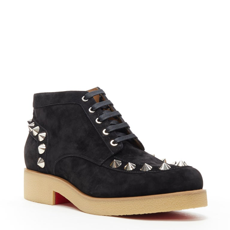 new CHRISTIAN LOUBOUTIN Yannick Flat black suede spike stud creeper boots EU44 Brand: Christian Louboutin Designer: Christian Louboutin Collection: AW18 Model Name / Style: Yannick Material: Suede Color: Black Pattern: Solid Closure: Lace up Extra