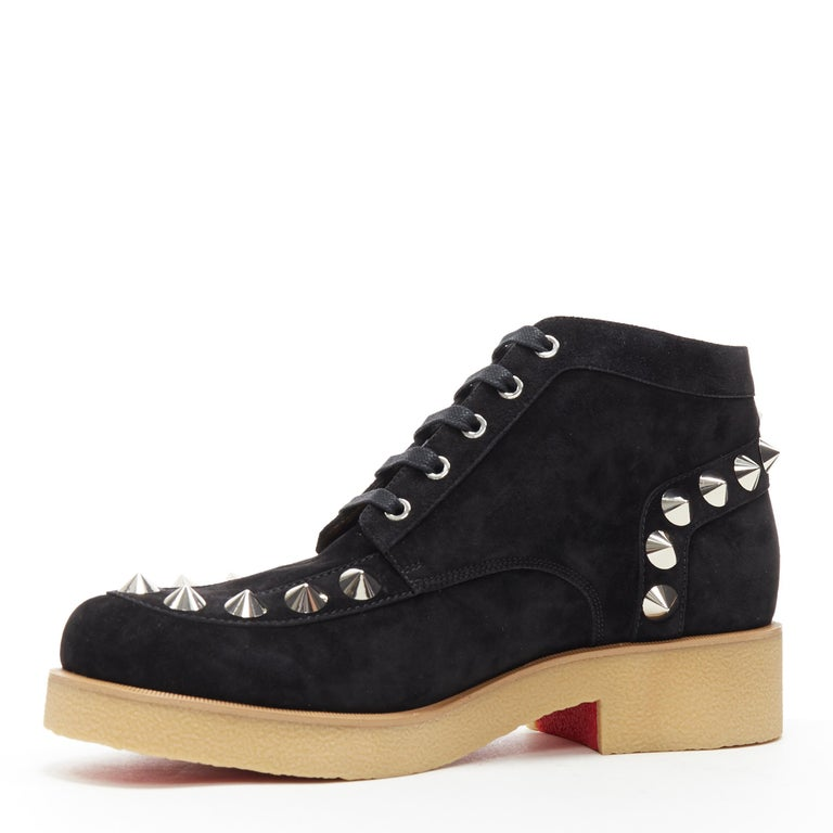 new CHRISTIAN LOUBOUTIN Yannick Flat black suede spike stud creeper boots EU44 In New Condition For Sale In Hong Kong, NT