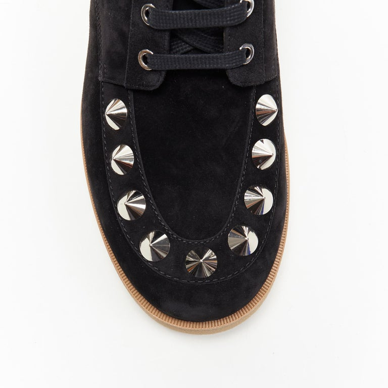 new CHRISTIAN LOUBOUTIN Yannick Flat black suede spike stud creeper boots EU44 For Sale 2