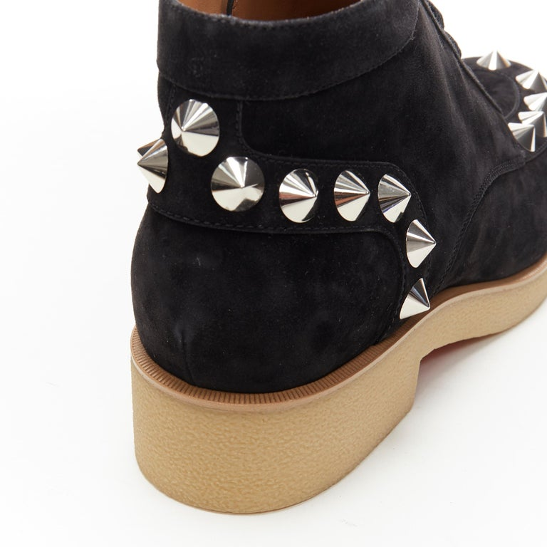 new CHRISTIAN LOUBOUTIN Yannick Flat black suede spike stud creeper boots EU44 For Sale 3
