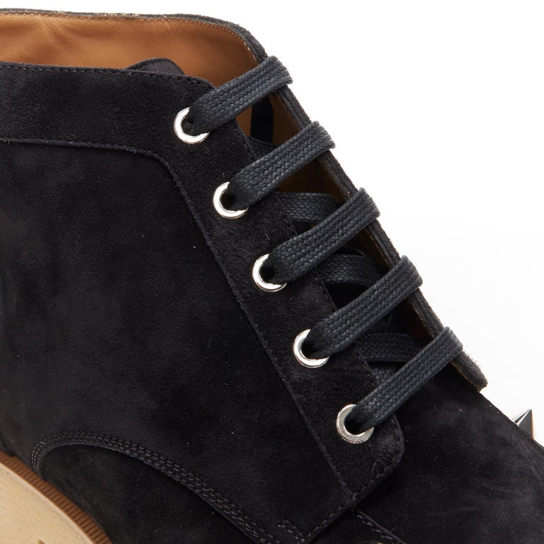new CHRISTIAN LOUBOUTIN Yannick Flat black suede spike stud creeper boots EU44 For Sale 4