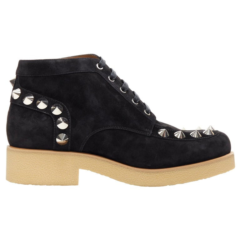 new CHRISTIAN LOUBOUTIN Yannick Flat black suede spike stud creeper boots EU44 For Sale