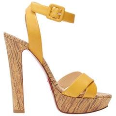 new CHRISTIAN LOUBOUTIN yellow cross strap ankle wrap printed cork platform EU38