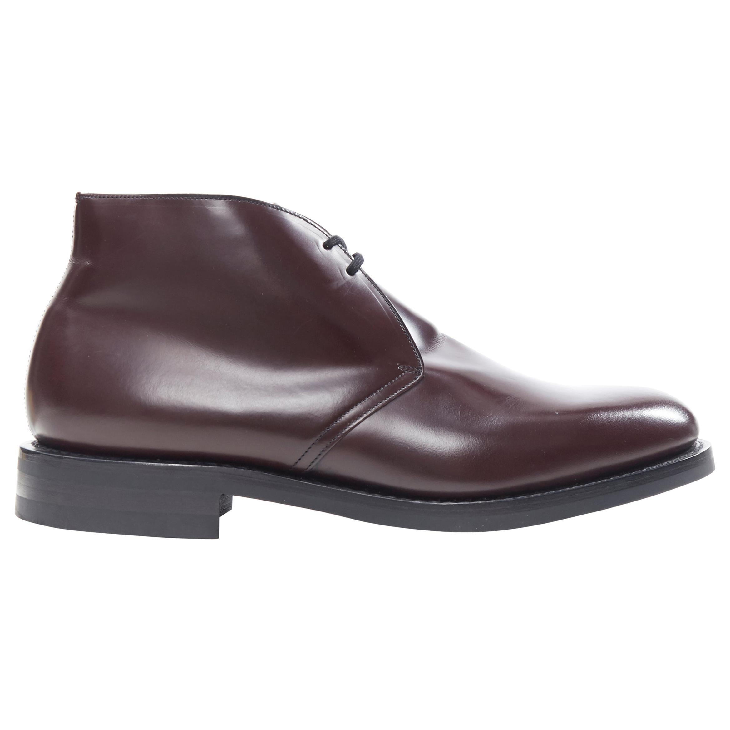 new CHURCHS Ryder 3 Burgundy Bright Calf polished leather chukka boots UK10 EU44