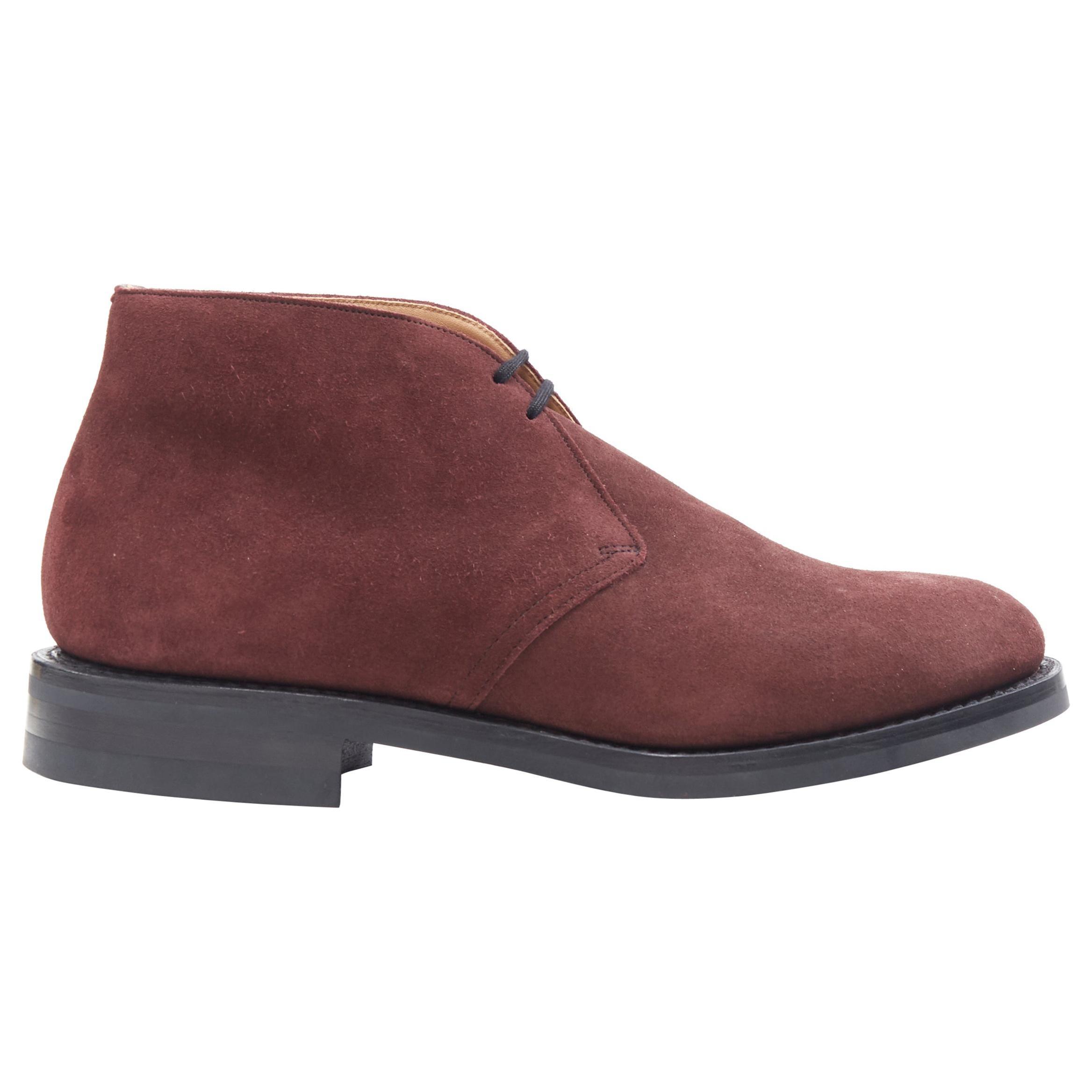 new CHURCH'S Ryder 3 Castoro burgundy red suede chukka desert boots UK8 EU42