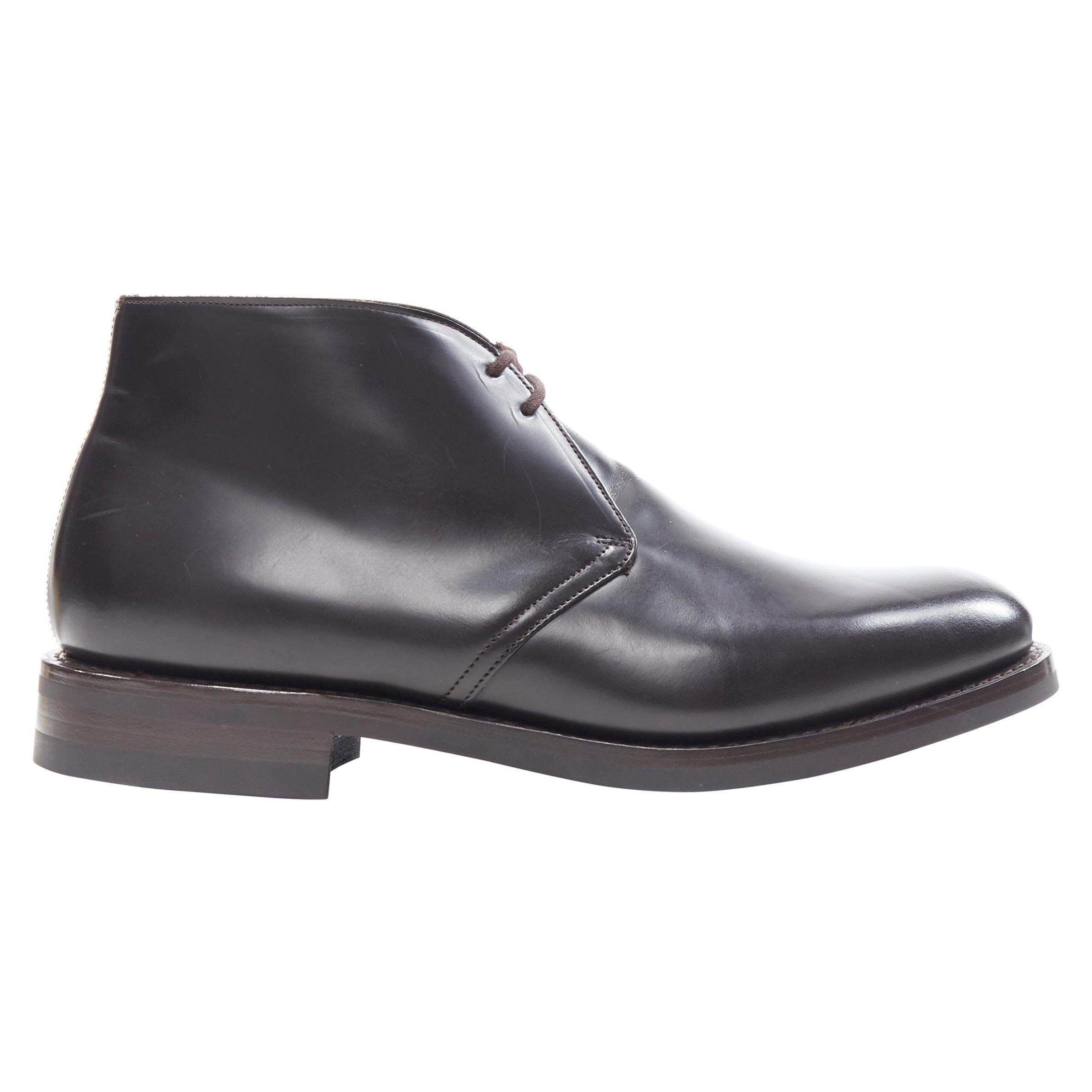new CHURCH'S Ryder 3 Ebony Bright Calf dark brown leather desert boots UK10 US11
