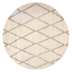 New Circular Moroccan Hand Knotted Wool Rug