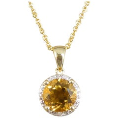 New Citrene and Diamond Cluster in 9ct Yellow Gold Pendant Necklace