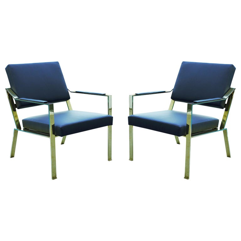Brass chairs, Model PM1 For Sale