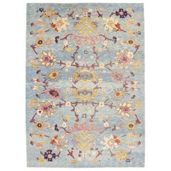 New Colorful Blue Turkish Oushak Rug with Modern Contemporary Style