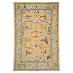 New Colorful Contemporary Turkish Oushak Rug with Modern Style